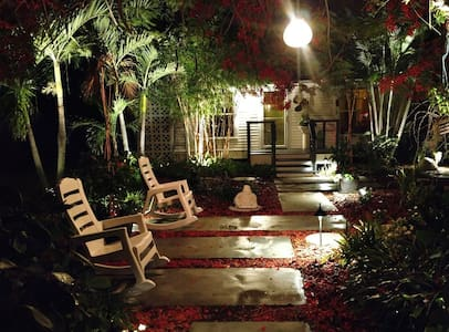 Very well lit walkway to cottage