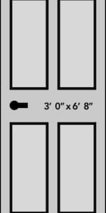 """The front door is a large 36"""" x 80"""" opening"""