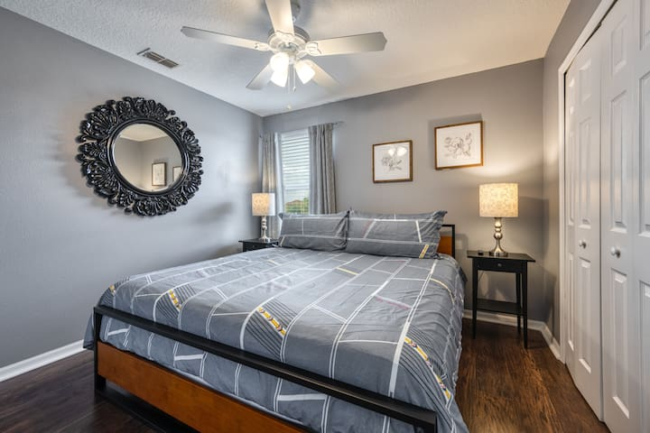 """Third King Bedroom with closet, King Size Bed, Ceiling Fan and 50"""" Smart TV"""