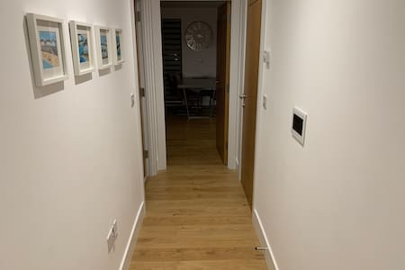 Wide hallway to lounge