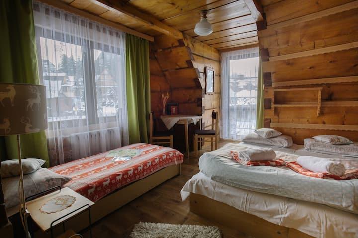 """""""Z jelonkami""""- pokój z balkonem i widokiem na góry"""