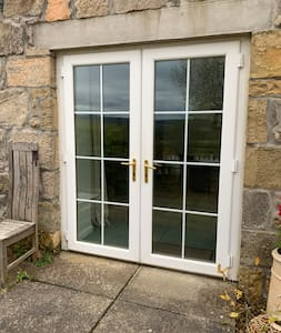 Entrance through double patio doors