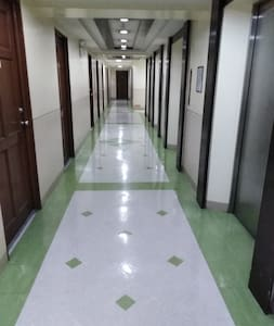 well lighted corridor  with 76 inches width