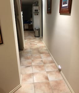 No obstruction down the hallway to bedroom