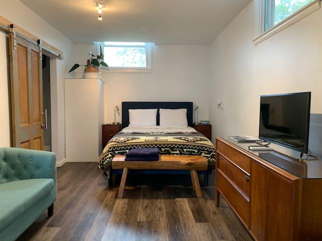 Queen sized bed, TV with Netflix and Amazon Prime. Bathroom door is a sliding barn door.
