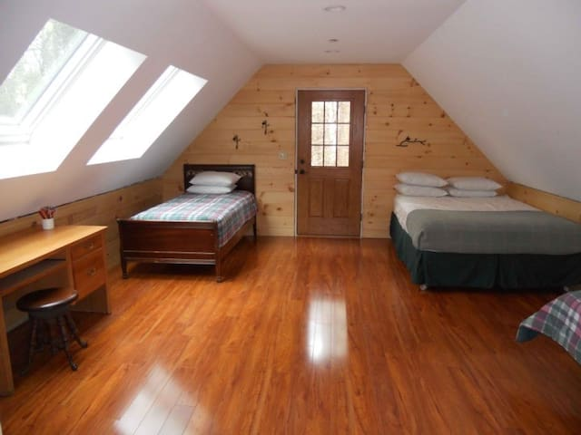 Upstairs, master bedroom, additional entrance, two large skylights