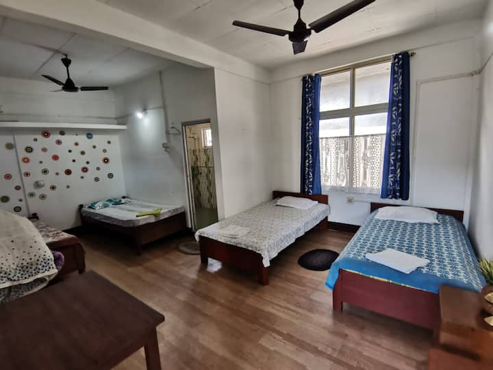 Basic 4 bedded room with attached bathroom