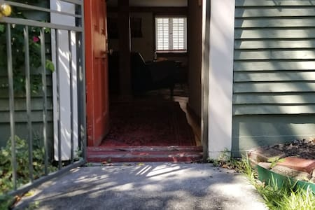 There are no steps into the apartment,  but there is a short threshold that one needs to step over.  See  photos.