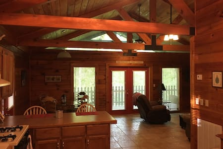The cabin has an open floor plan with no hallways.