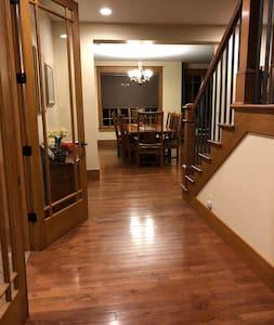"Hallway to dining room/sitting area is 74""  Hallway to elevator is 48""."