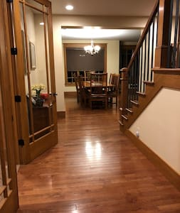 """Hallway to dining/living area, elevator and powder room are 72"""" to 48"""" wide."""