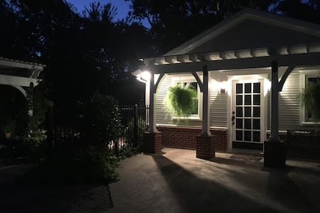 motion sensor lights over driveway next to back yard gate
