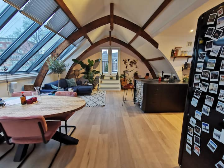 Unique loft with rooftop terrace in city center.