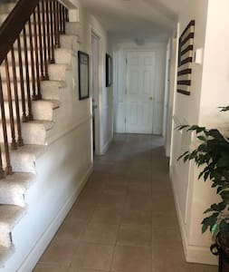 """Hallway width = 44"""" 3 Bedroom door entrances """" 30"""" 2 bathrooms on ground floor = """"26"""" for the one at the end of hall & 28"""" for the one on the left at the end of the hall"""
