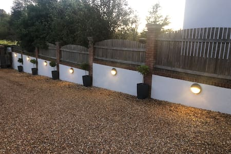 Main Driveway with wall lighting - Timer operated during winter / darker night months