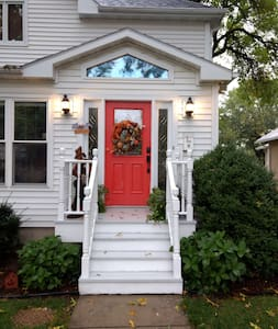 Well-lit front entryway.