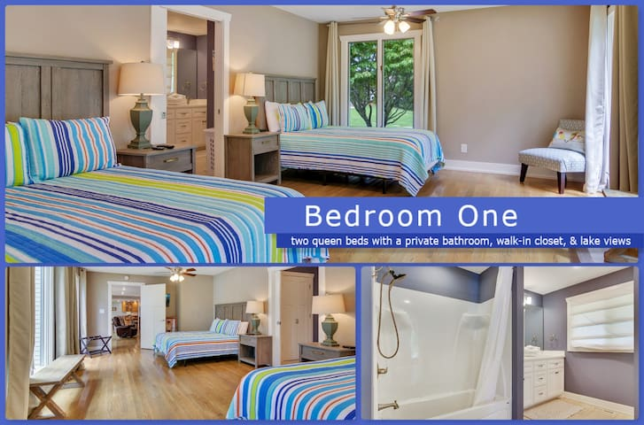 The Master Bedroom features 2 comfortable queen beds a private bathroom with a tub and shower, a large walk-in closet, a stunning lake views.