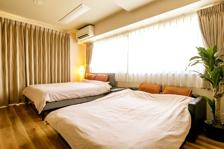 1 double bed and 1 double sofa bed are provided int the listing.