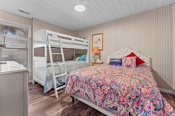 Bedroom #3 sleeps four persons with one full bed and twin bunk beds.