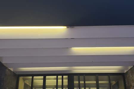 Lighting above outside entrance