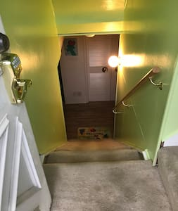 There are 10 steps from entrance door down to apt.