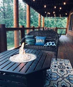 Well lit deck, with party lights