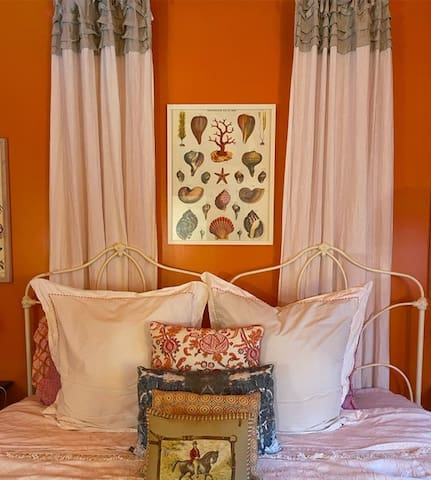 King size bed- this bedroom has a bathroom down the hall