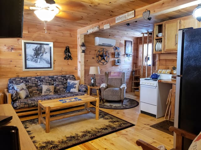 The tiny cabin accommodates 2 yet room for more on this 1 of 2 comfy futons if needed.
