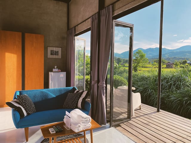 living area and paddy fields view.