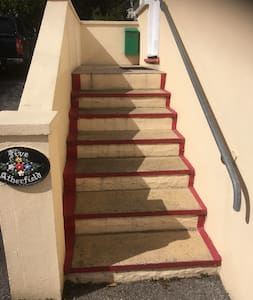 Front Entrance Steps.    There is an external light by the Stairs and Entrance Door.