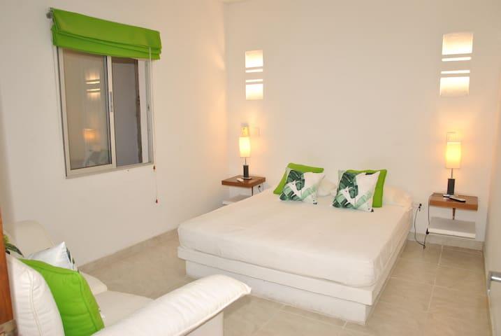 Habitación No. 5 con (1) cama queen size. Posibilidad de (1) sofá-cama. Capacidad (3) personas. TV - DIRECTV, A/A y ventilador. Minibar. Cajilla de seguridad.