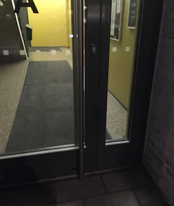 This is the main entrance. There is an elevator and accessibility has played a big role in this 2017 built apartment