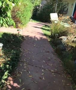 Pathway from entry gate leading to studio