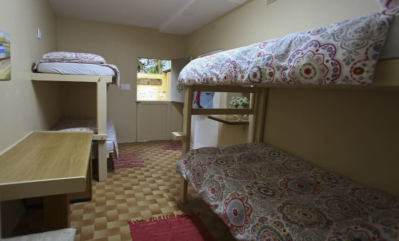 Bedroom Four: (only available upon request) Four bunkbeds, with shower and basin and separate bathroom.