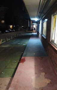 The pathway is lit and wide enough for my wheelchair