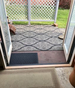 Both sides of French doors open, allowing for easy access.