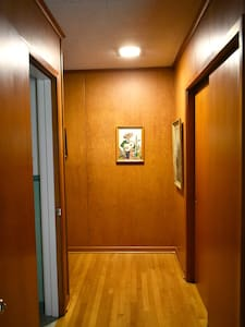Hallway is 45 inches wide, but door widths vary. Bathrooms: only 29 inches, bedrooms ca. 31 inches