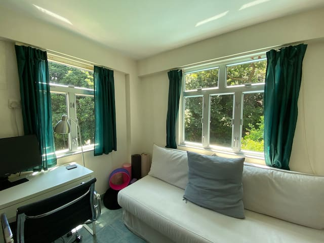 Office space that can be converted to guest room on request. Sofa bed that converts to double bed. Yoga & exercise equipment available for use.