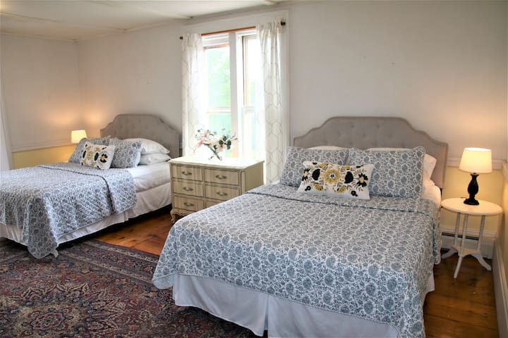 1st bedroom - 2 comfortable queen beds. LIght and bright with an antique Persian rug and full length mirror. Views of Snake Mountain from the window box and local farms.