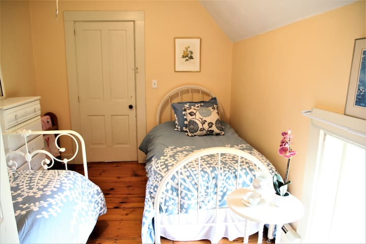 3rd bedroom - 2 comfortable vintage iron twin beds. Down comforters and a full closet. Closest to the half-bathroom.