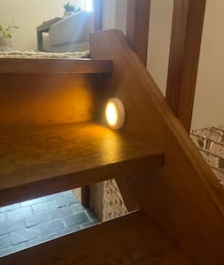 Sensor lights on the stairs.