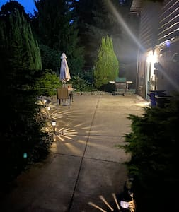 Solar lights light the path to the Nest and we leave the light for the after dark check ins.
