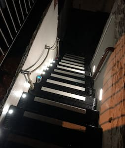 Well light entrance stairs