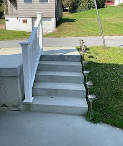Lighted steps from off street parking
