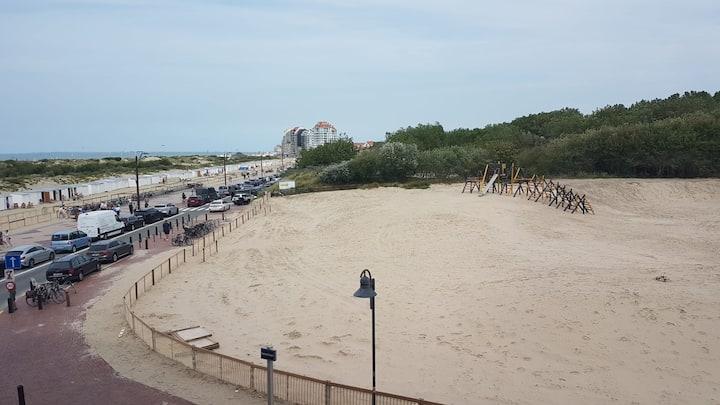 Vue transversale sur la mer, la digue et les dunes