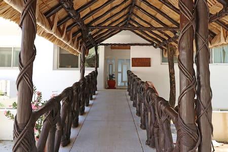 Entrada a la casa con rampa. Toda la casa a excepción del roof garden cuenta con rampa.