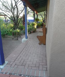 Path to door is wide enough for a wheel-chair or walker (tested), and the bench can be moved as needed.