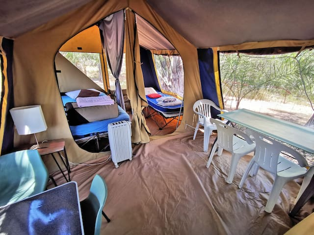 Newest Tent with 2 Bedrooms (1 Queen & 1 Single) and roomy all-weather Dining FRoom