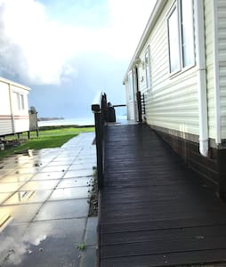 Ramped decking, no steps to caravan