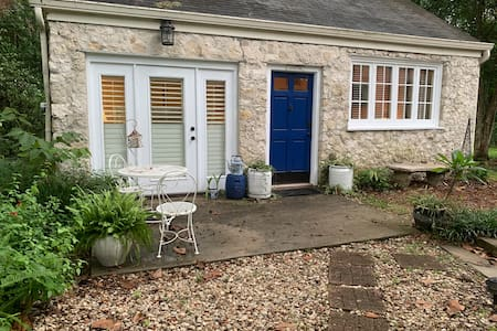 In addition to the out lantern style light over the patio we provide pathway lights from your parking space.